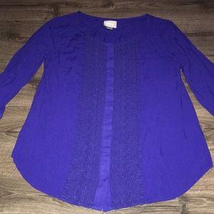 Anthropologie Maeve blue tunic size 8